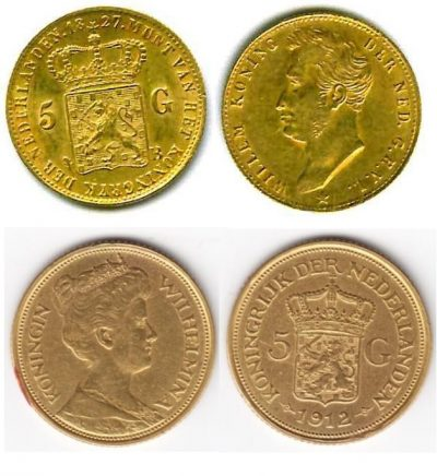 Netherlands Gold Coins 5 Gulden