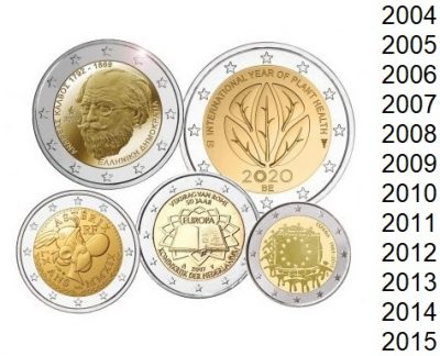 Speciale 2 Euro Munten Op Jaar