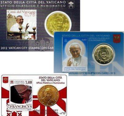 Vaticaan Coincards Met Postzegel