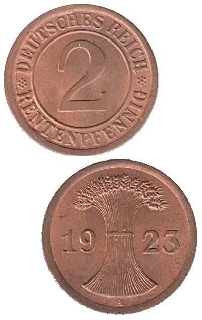 Worldcoins Germany Weimar Republic 2 Pfennig