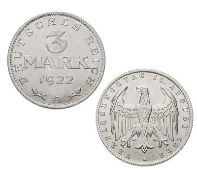 Worldcoins Germany Weimar Republic 3 Mark